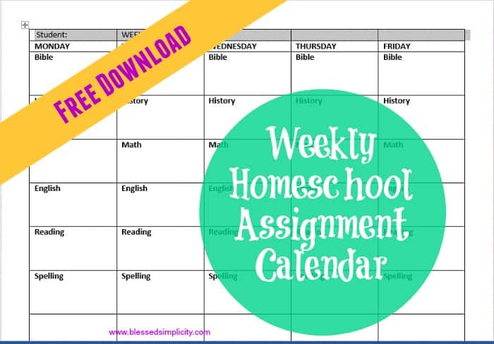 Simple Weekly Homeschool Assignment Calendar Blessed Simplicity