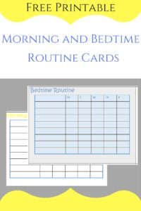 routine, back to school, printable, cards
