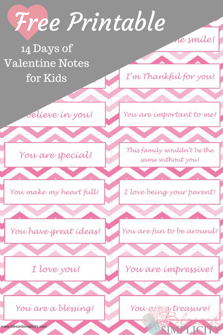 14 days of valentine notes for kids free printable for Valentine notes for her